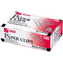ACCO Economy #1 Paper Clips 100/Pkg-Smooth Finish, 1.28""