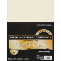 "Darice Core'dinations Premium Textured Vanilla Cream Cardstock  Vanilla Cream  8 1/2"" x 11""  65 lb Paper Weight  40/ Pack"