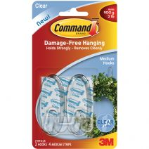 Command Medium Hooks-Clear 2 Hooks & 4 Strips