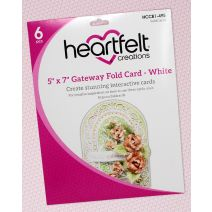"Heartfelt Creations Foldout Card 5""X7"" 6/Pkg-Gateway Fold - White"