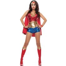 Starline Womens Wonder Lady Sexy 5 Piece Costume Set With Headpiece, Red/Gold, Medium
