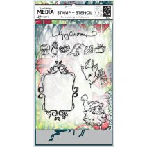 Ranger Dina Wakley Media Stamp And Stencil Set Scribbly Vintage