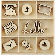 Flourishes Die Cut Wood Pieces Pack Hello