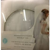 Rhinestone Halo Veil DBL Layer White