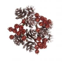Pinecone And Berry Candle Ring Glitter Brown White And Red 4 Inches