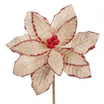 Darice Burlap Poinsettia Pick Glitter Red And Natural 8 Inches