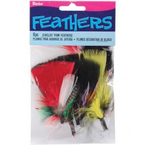 Jewelry Trim Feathers Black with Assorted Bright Colors