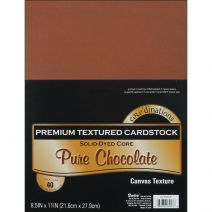 "Darice Core'dinations Premium Textured Pure Chocolate Cardstock  Pure Chocolate  8 1/2"" x 11""  65 lb Paper Weight  40/ Pack"