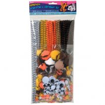 Pom Pom and Chenille Kit with Wiggle Eyes Striped