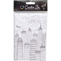 Creative Zen Collection Adult Coloring Coloring Cards Airplane Thank You