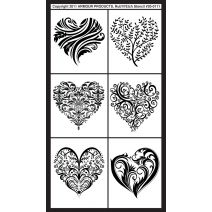 Armour Rub N Etch Stencil Fancy Hearts