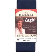 "Wrights Bias Tape Hem Facing 1.875""X2.5yd-Navy"