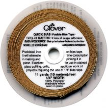 "Clover Quick Bias Fusible Bias Tape 1/4""X11yd-Gold Lame'"