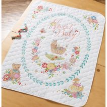 "Bucilla Stamped Crib Cover Cross Stitch Kit 34""X43""-Sweet Baby"