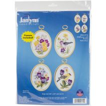 "Janlynn Embroidery Kit 3.25""X4.25"" Set Of 4-Wildflowers & Finches-Stitched In Floss"