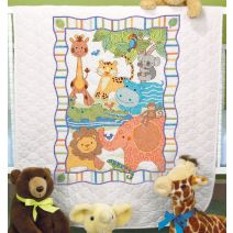 "Dimensions/Baby Hugs Quilt Stamped Cross Stitch Kit 34""X43""-Mod Zoo"