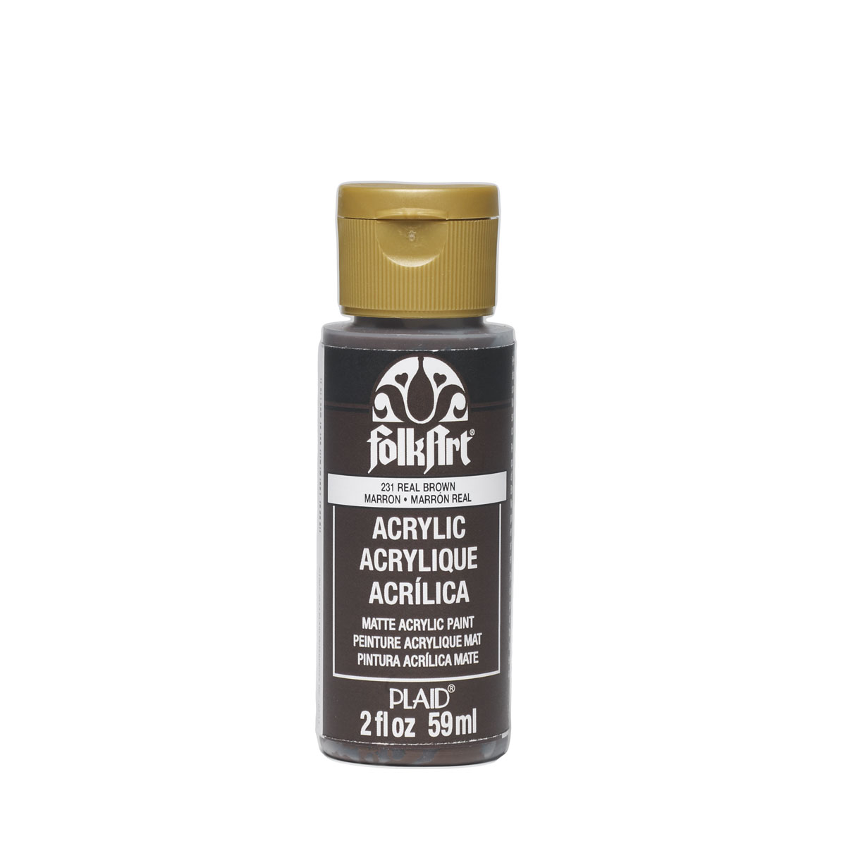 Plaid Folkart Acrylic Paint In Assorted Colors (2 Oz),Real Brown