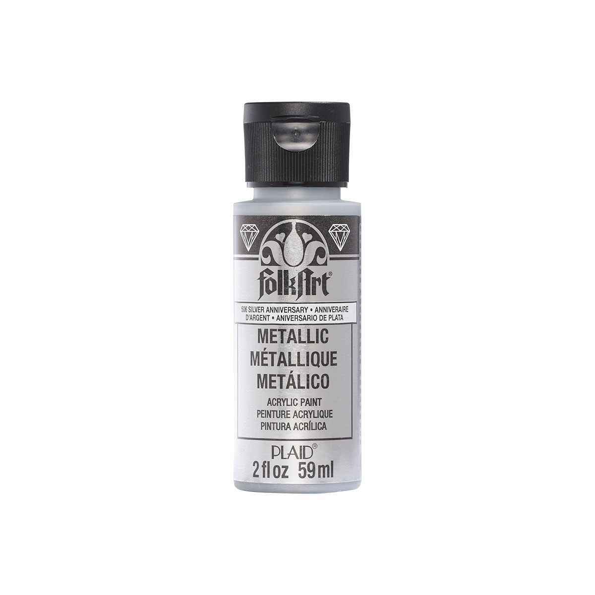 Plaid Folkart Metallic Acrylic Paint In Assorted Colors (2 Oz),Silver Anniversary