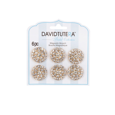 Darice David Tutera Illusion Gold and Crystal Rhinestone Magnet Brooches