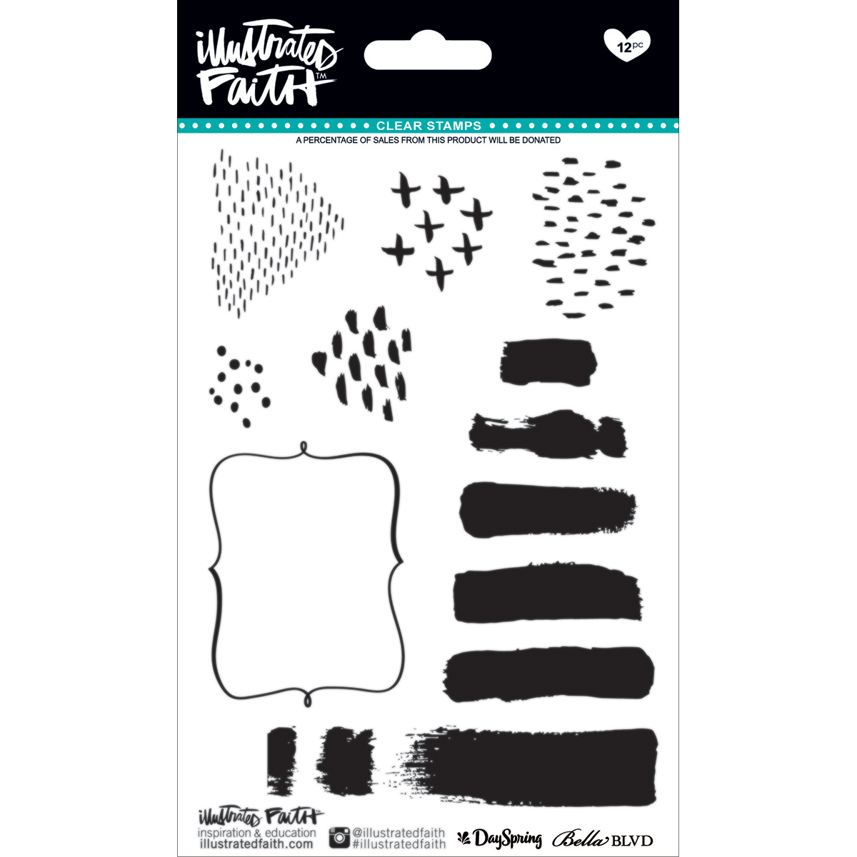 Illustrated Faith Basics Collection Clear Acrylic Stamps Elements