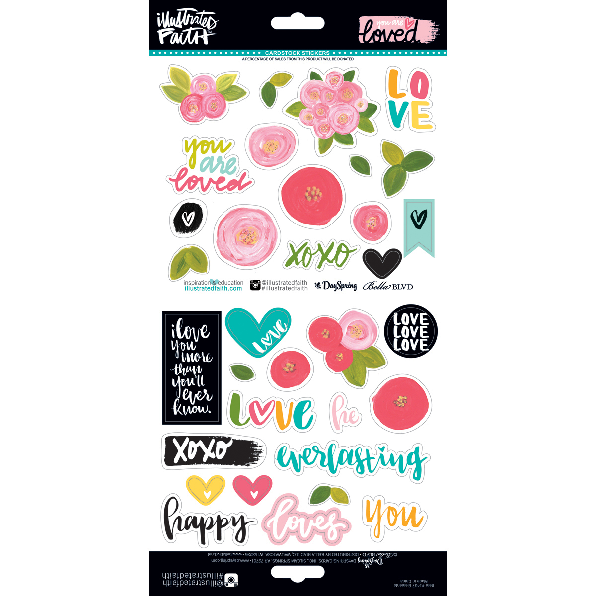 Illustrated Faith You are Loved Collection 12 X 12 Cardstock Stickers Elements
