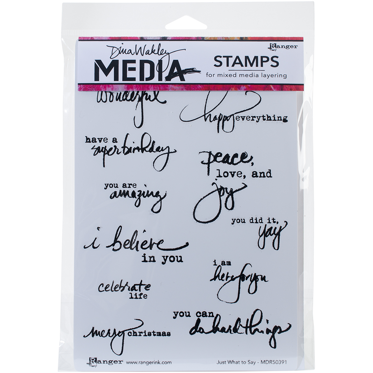Ranger Just What to Say Dina Wakley Media Cling Stamps, 6x9 inches ,Clear