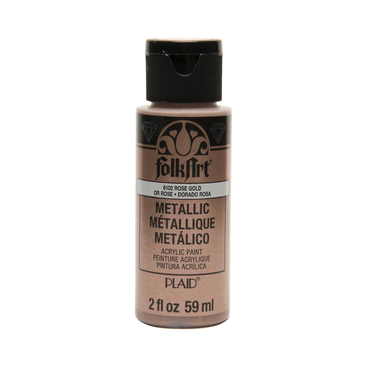 Plaid Folkart Metallic Acrylic Paint 2Oz-Rose Gold