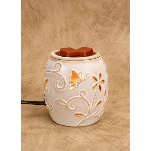 Darice Ceramic Wax Warmer Electric Beige Flowers and Nature Design