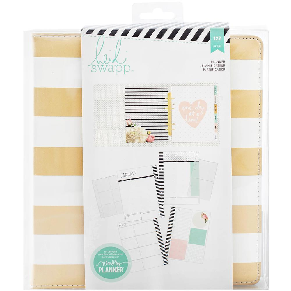 American Crafts Heidi Swapp Large Memory Planner 7.75 X8.75 inches Gold Foil Stripes