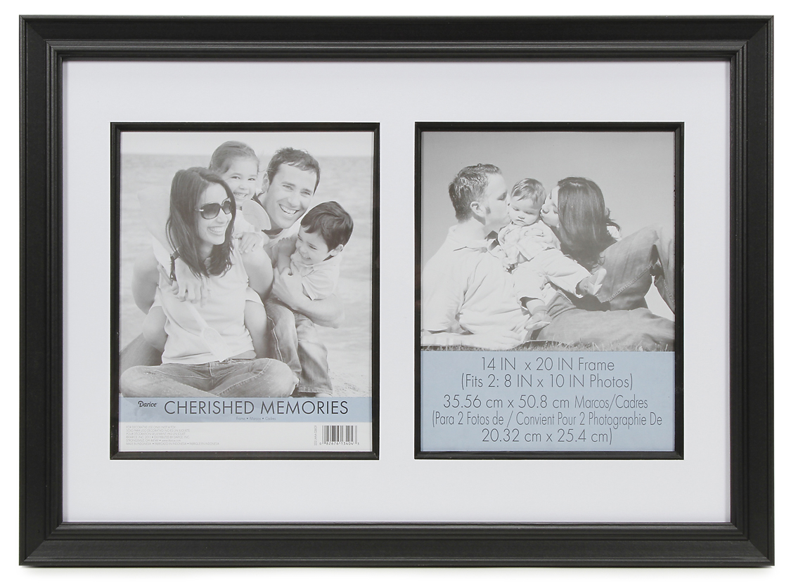 Darice Cherished Memories Double Mat Frame Black 14 x 20