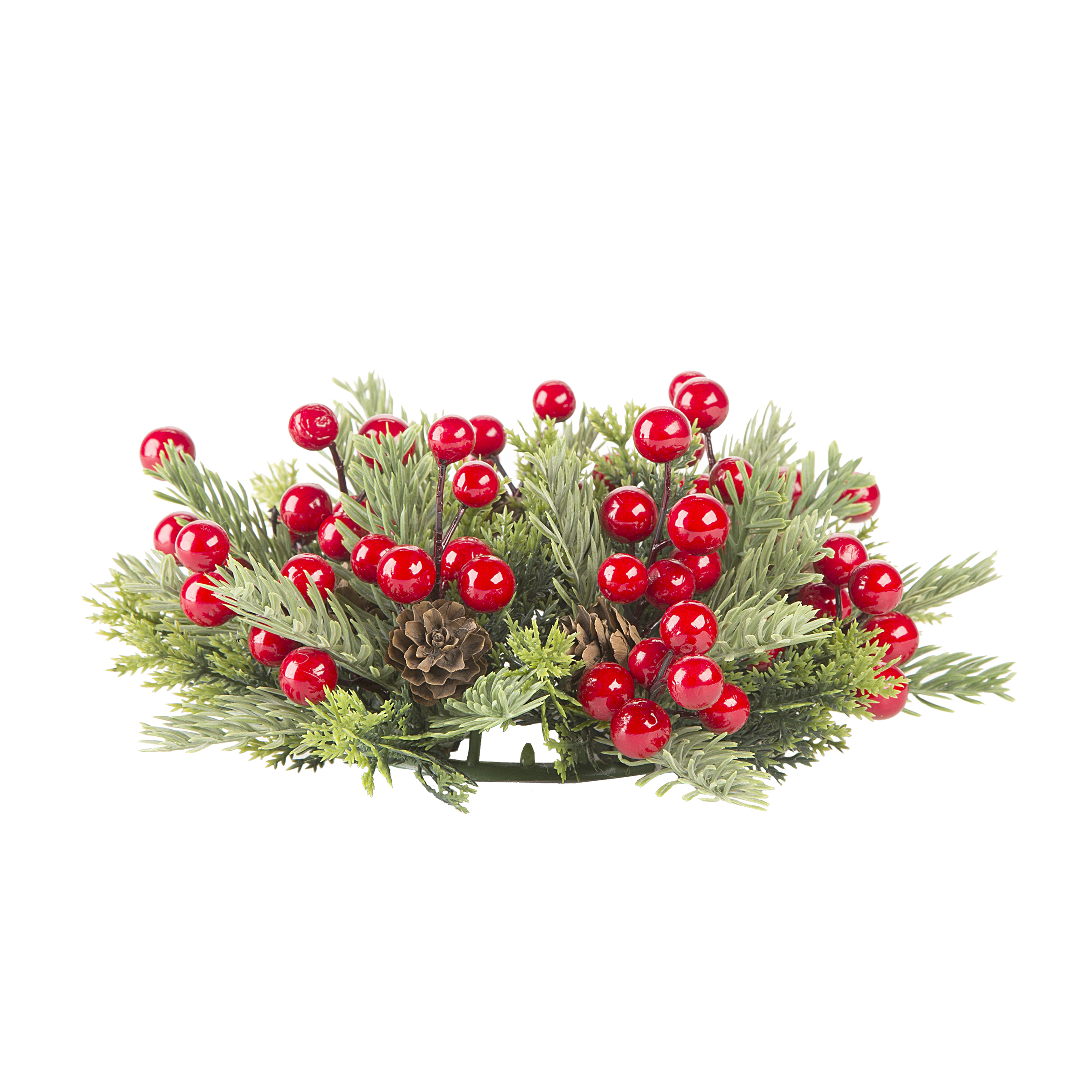 Darice Christmas Pine and Berry Candle Ring Foam and Plastic 3 Inches