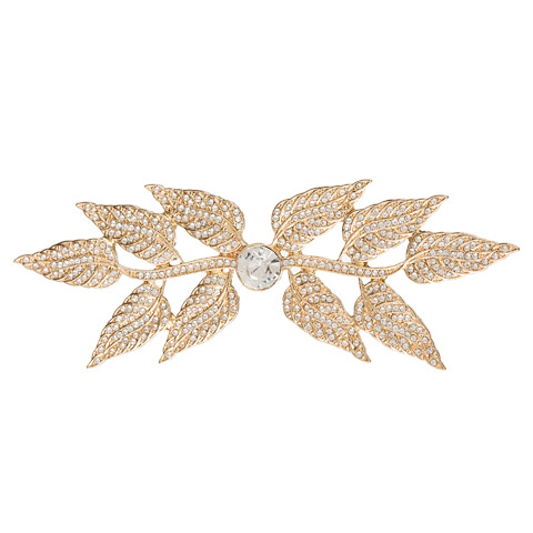 Darice David Tutera Wedding Brooch Gold Metal Leaf with Rhinestones