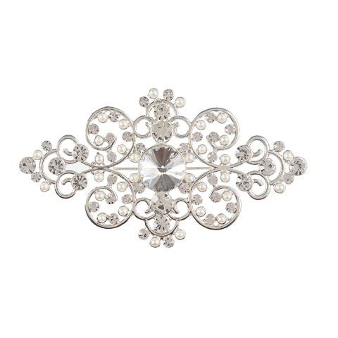 Darice David Tutera Wedding Brooch Silver Swirl Diamond Shape with Rhinestones & Pearls