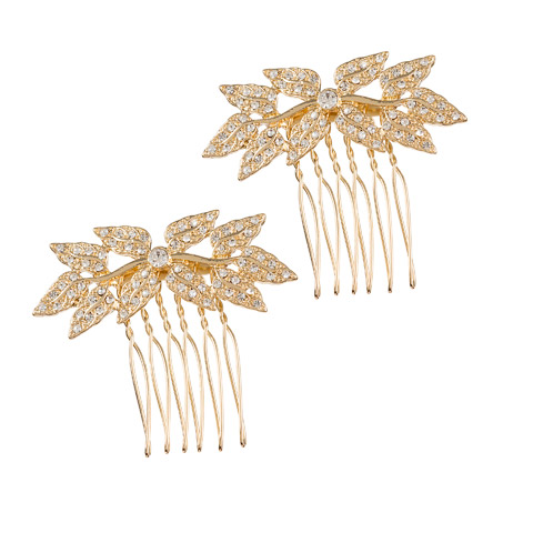 Darice David Tutera Bridal Hair Comb Gold Leaves with Crystal Rhinestones