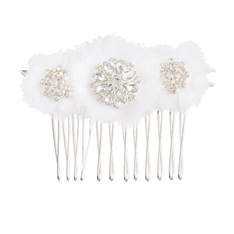 Darice David Tutera Bridal Hair Comb Silver Rhinestone Flower Tri-Cluster with Netting