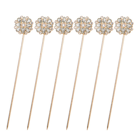 Darice David Tutera Bouquet Jewelry Gold Flower Bouquet Pins with Rhinestones