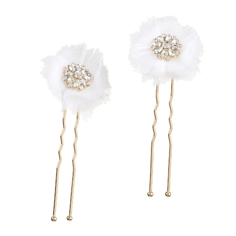 Darice David Tutera Bridal Hair Pins Gold Flower with Rhinestones & Netting