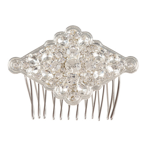 Darice David Tutera Bridal Hair Comb Silver Metal Diamond-Shaped Design with Rhinestones