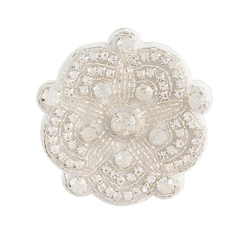 Darice David Tutera Silver Bridal Applique Round Scallop Shape with Beading & Rhinestones