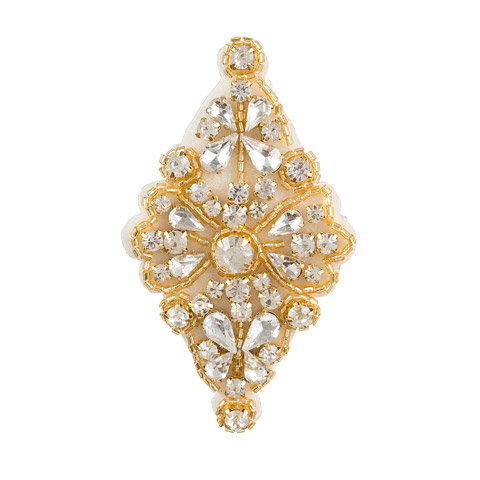 Darice David Tutera Gold Bridal Applique Diamond-Shape with Beading & Rhinestones