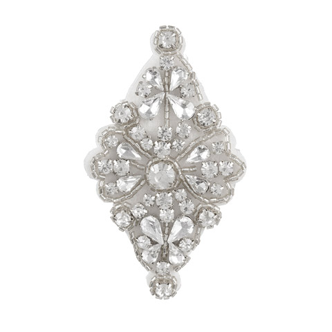 Darice David Tutera Silver Bridal Applique Diamond-Shape with Beading & Rhinestones