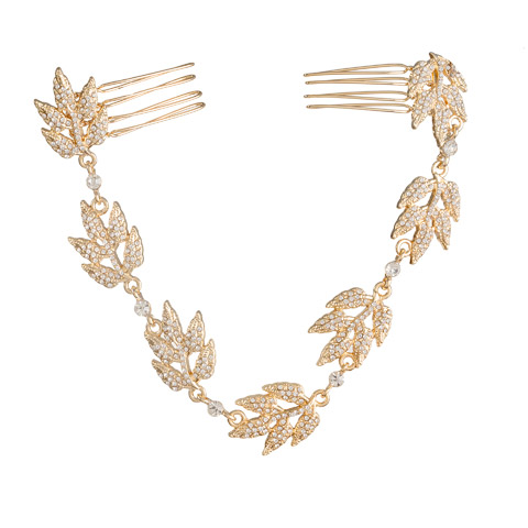 Darice David Tutera Bridal Hair Chain Gold Grecian Leaves with Crystal Rhinestones