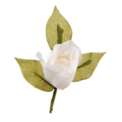 Darice David Tutera Artificial Wedding Boutonniere White Rose with Green Leaves