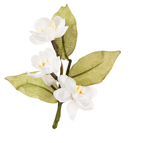 Darice David Tutera Artificial Wedding Boutonniere White Blossoms with Green Leaves