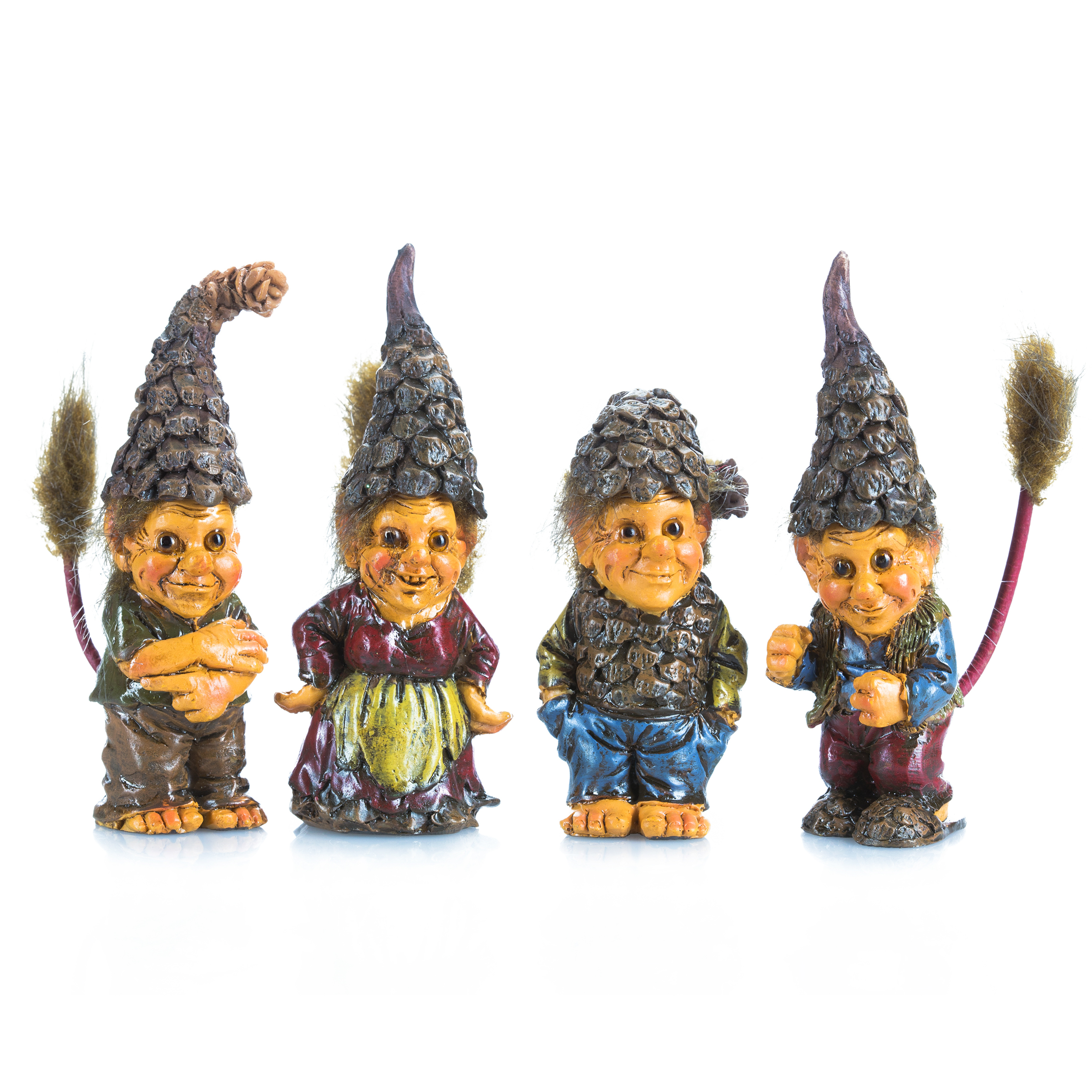 Darice Miniature Fairy Garden Pixies Wearing Pinecone Hats Assorted
