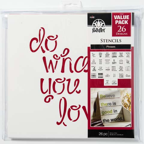 Plaid Folkart Paper Stencil Value Pack 12 X 12 Inches, Phrases
