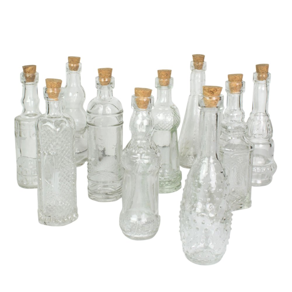 Darice Vintage Glass Bottles with Corks, Bud Vases, Assorted Shapes, 5 Inch Tall (Clear)