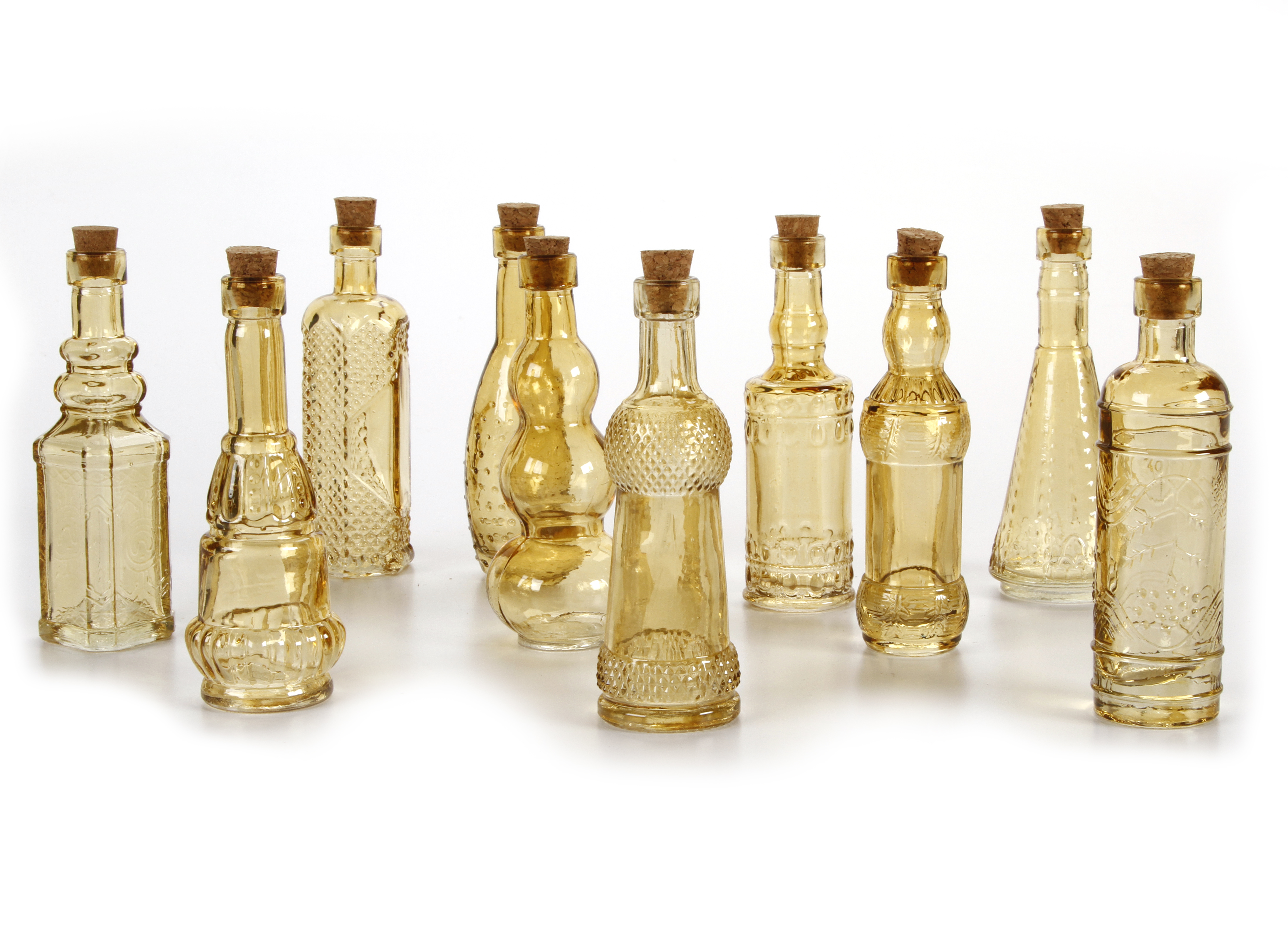 Vintage Glass Bottles with Corks, Assorted, 5 inch, Set of 10, Amber