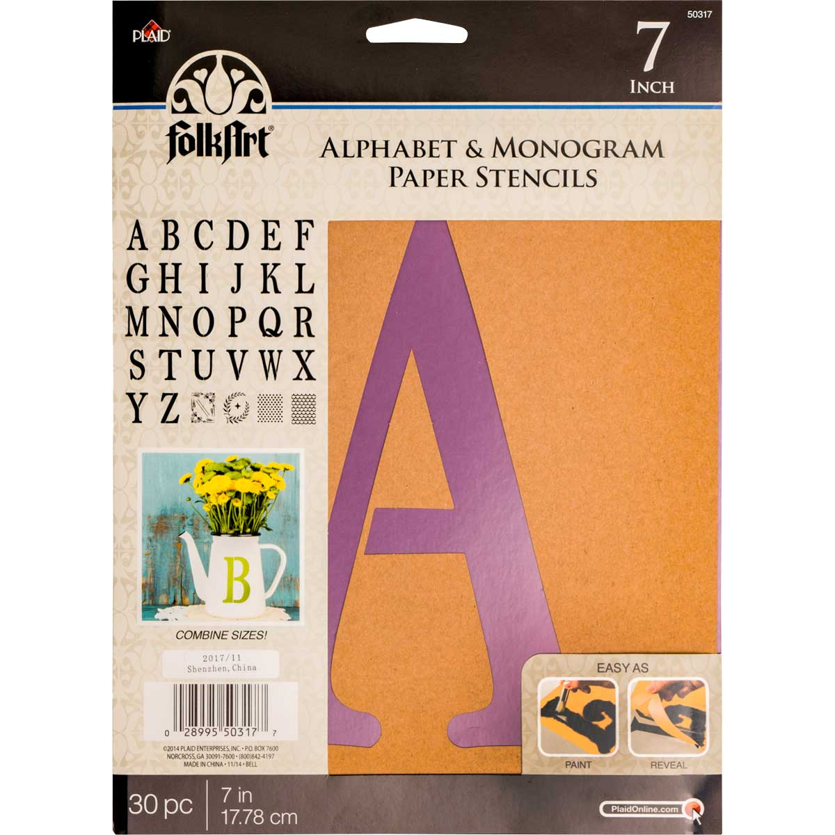 Plaid Folkart Stencil Paper, Alphabet & Monogram Serif 7 Inches