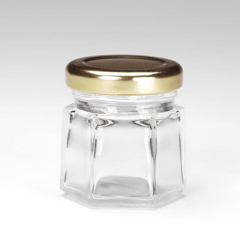 Darice Jar with Metal Lid Clear Glass Hexagon Shape Holds 1.5 oz
